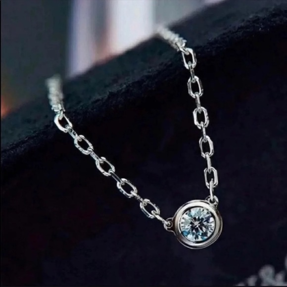 18k white gold 1.0ct moissanite diamond Necklace